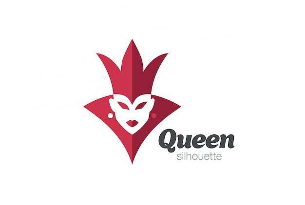 Logo sylwetka królowej królewskiej kobiety. negatywny styl przestrzeni.