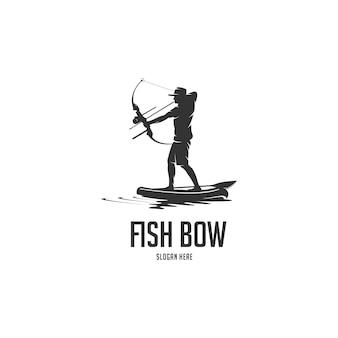 Logo sylwetka łowić wiosło pokładzie pokładzie