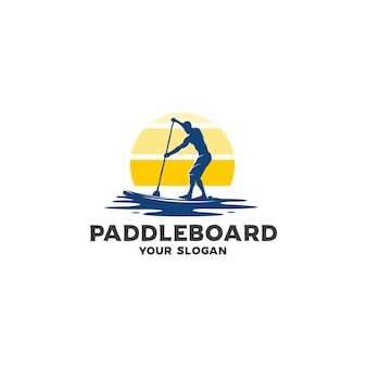 Logo sylwetka paddleboard oceanu
