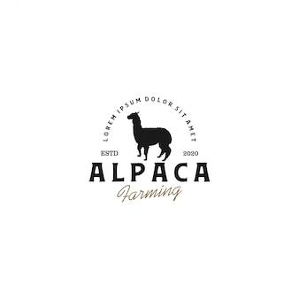 Logo sylwetki alpaki, ranczo zwierząt