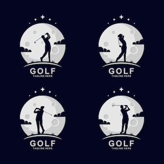 Logo sylwetki golfa na księżycu z gwiazdami