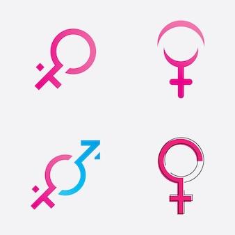 Logo symbolu płci płci i równości płci męskiej i żeńskiej ilustracji wektorowych