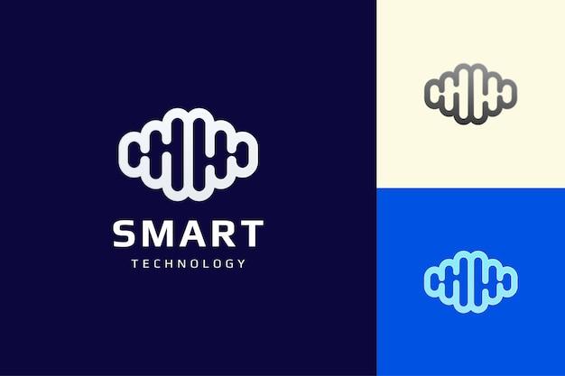 Logo systemu mózgu lub inteligentnej technologii w płaskim i prostym stylu