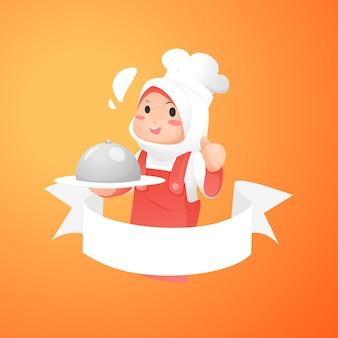 Logo szefa kuchni chibi muslimah