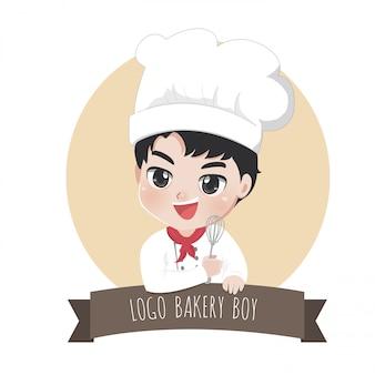 Logo szefa kuchni małego chłopca z piekarni to szczęśliwy, smaczny i słodki uśmiech,