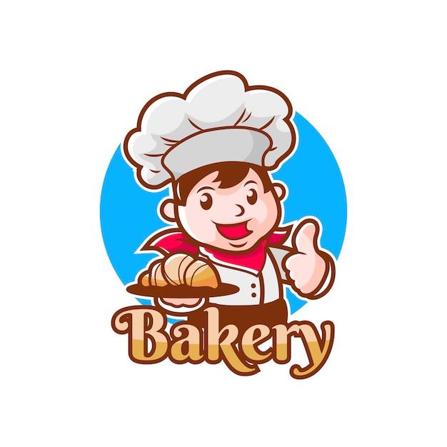 Logo szefa piekarni z kreskówek z maskotką postaci młodego człowieka może być używane jako logo piekarni lub szefa piekarni