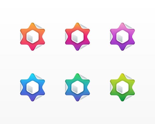Logo sześciokąta z klapką w kształcie gwiazdy