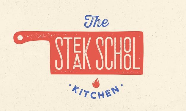 Logo szkoły gotowania z ikoną noża szefa kuchni