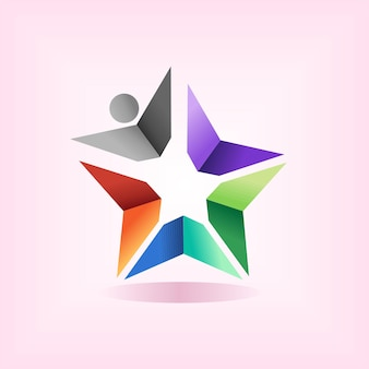 Logo szkoły gwiazdy z koncepcją ludzi