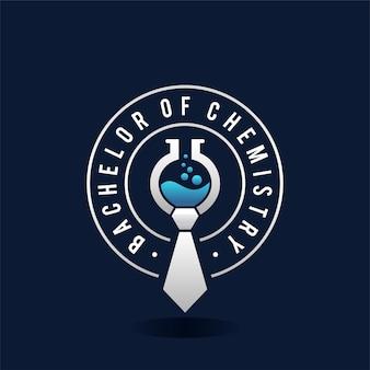Logo szkoły laboratoryjnej licencjat z chemii wektor