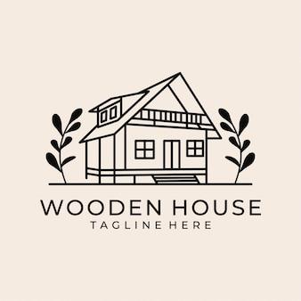Logo sztuki linii drewniany dom