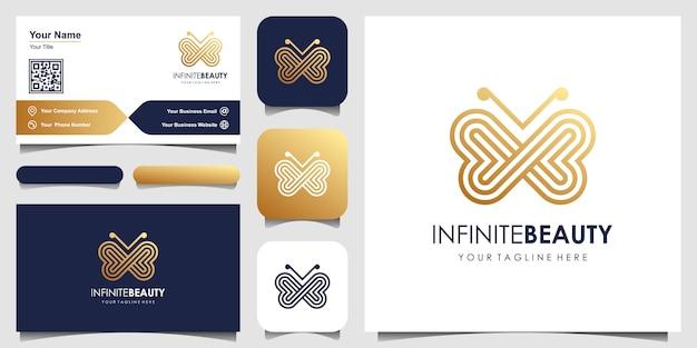 Logo sztuki minimalistycznej linii złoty motyl