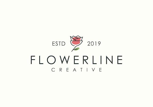 Logo sztuki róży linii
