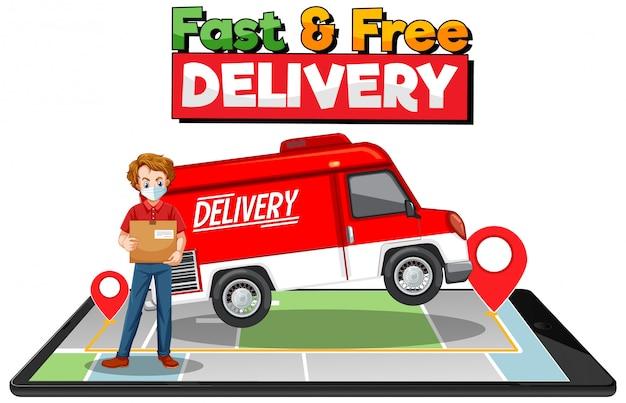Logo szybkiej i bezpłatnej dostawy z furgonetką dostawczą lub ciężarówką