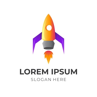 Logo szybkiej rakiety w kolorowym stylu