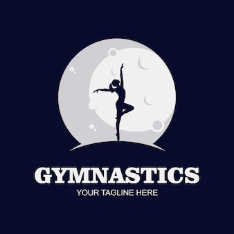 Logo Tańca, Taniec W Księżycu, Dziewczyna. Premium Wektorów
