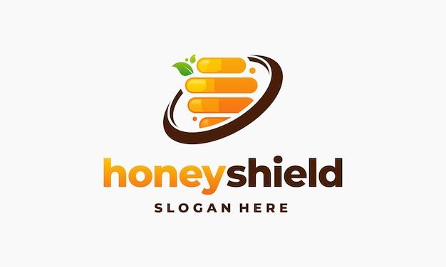 Logo tarcza miodu projektuje wektor koncepcyjny, szablon projektów logo o strukturze plastra miodu, symbol ikony