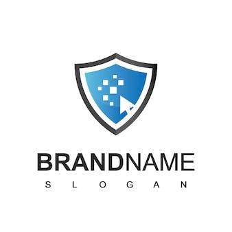 Logo tarczy, cyberbezpieczny i silny symbol