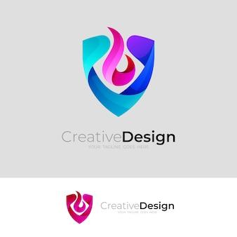 Logo tarczy z kolorowymi ikonami ognia, szablon logo w stylu 3d