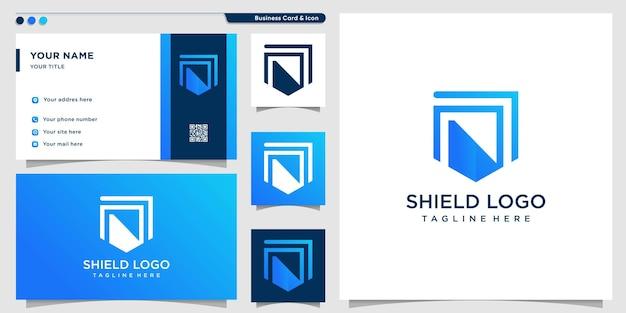 Logo tarczy z nowoczesną koncepcją abstrakcyjną premium wektor