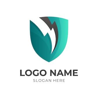 Logo tarczy z projektem grzmotu, logo bezpieczeństwa