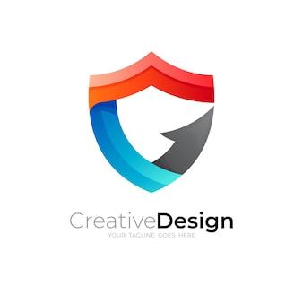 Logo tarczy z szablonem logo strzałki, ikona litery g