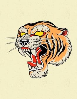Logo tatuażu tygrysa starej szkoły