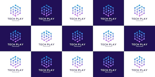 Logo tech cube z początkową literą pb i d design