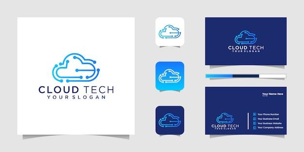 Logo technologii chmurowych. logo chmury. logo najlepszych technologii chmurowych. logo sztuki linii chmury. logo chipa w chmurze i wizytówka