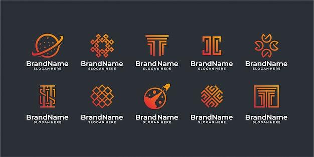 Logo technologii. dobre dla zestawu logo, marki, reklamy, biznesu, internetu i wizytówek
