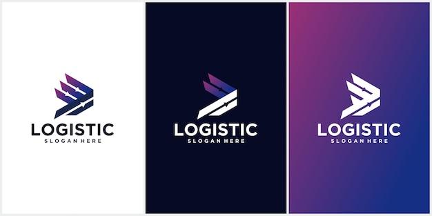 Logo technologii firmy logistycznej. ikona strzałki. ikona wysyłki. ikona strzałki. strzałka wektor. logo usługi wysyłkowej. logo internetowe, cyfrowe, prędkości, logistyki z projektem wizytówki