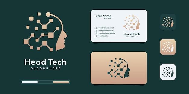 Logo technologii głowy mózgu użyj kropki danych koncepcja logo szablon projektu.