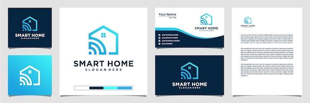 Logo technologii inteligentnego domu z wizytówką logo w stylu linii i nagłówkiem