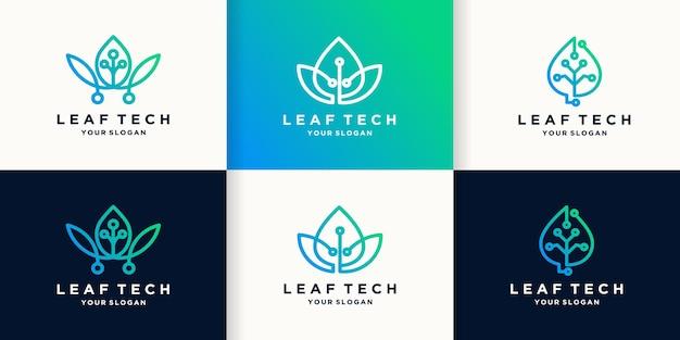 Logo technologii liści z obwodem kropkowym