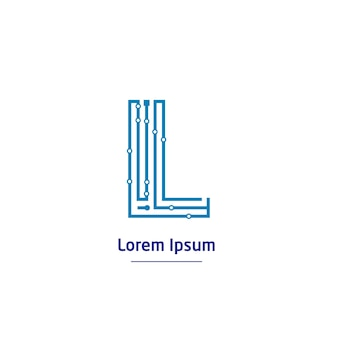 Logo technologii litery l z symbolem linii obwodu