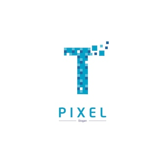Logo technologii litery t z symbolem pikseli