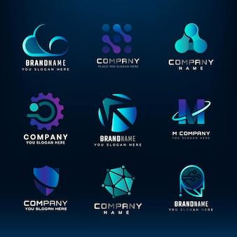 Logo technologii, nowoczesny branding dla firmy cyfrowej i zestaw wektorów startowych