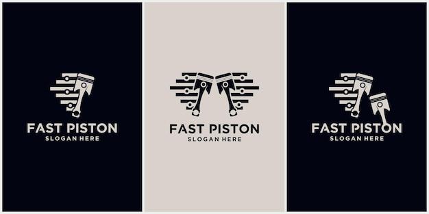 Logo Technologii Prędkości Tłoka Symbol Logo Motoryzacyjny Ilustracja Wektorowa Logo Tłoka Premium Wektorów