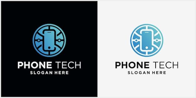 Logo technologii telefonu ze światową technologią highend electronics logo technologia phone concept