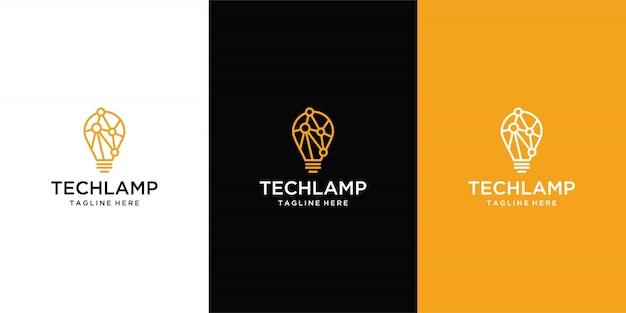 Logo technologii żarówki w minimalistycznym, kreatywnym stylu
