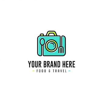 Logo teczki z żywnością i podróżą logo i teczka z logo podróży