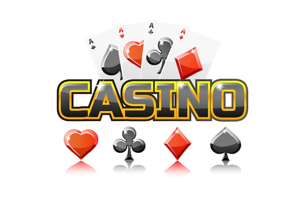 Logo tekst kasyno i karty do gry
