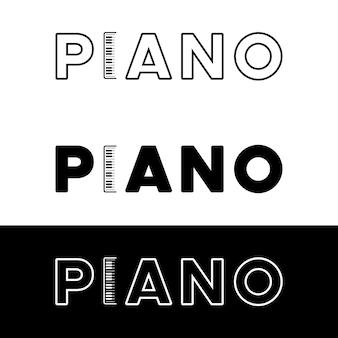 Logo tekst piano z ikoną fortepianu minimalistyczne inspiracje projektowe