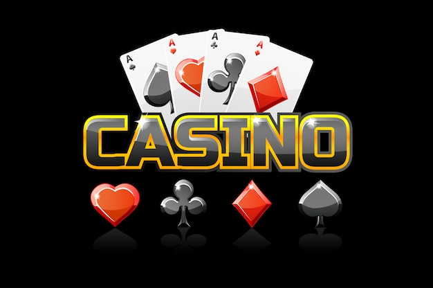 Logo tekstowe kasyno i ikona, do gry ui