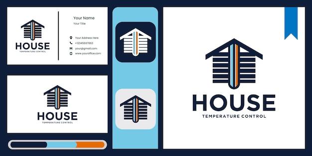 Logo temperatury w domu logo domu z regulacją temperatury klimatyzator do kropli wody w domu