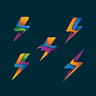 Logo thunder ustawione w wektorze