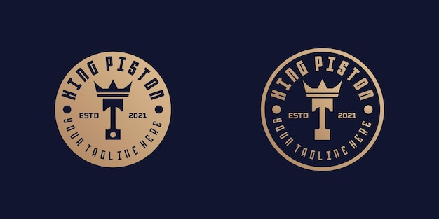 Logo Tłoka I Korony Dla Warsztatów Naprawczych I Mechaników Premium Wektorów