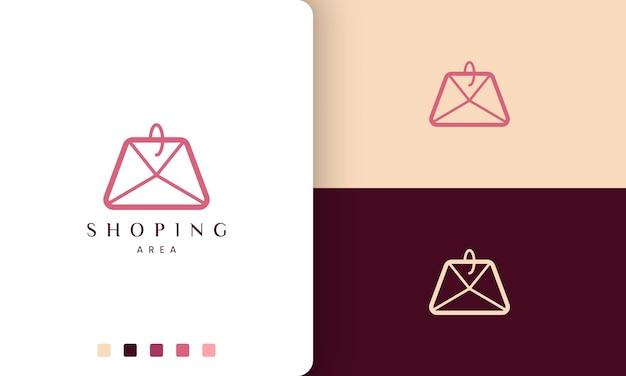 Logo torby na zakupy w prostym i nowoczesnym stylu