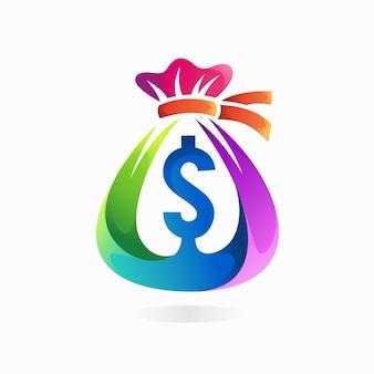 Logo torby pieniędzy z gradientową koncepcją kolorów