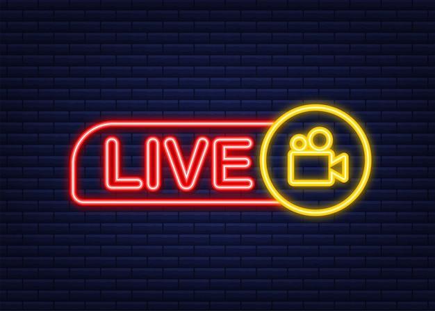 Logo transmisji na żywo. neonowa ikona. interfejs strumieniowy. czas ilustracja wektorowa.